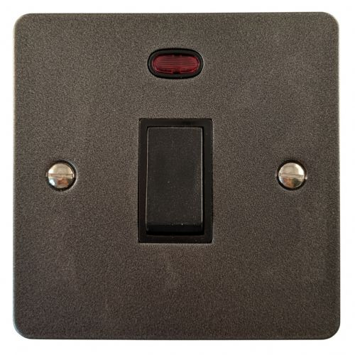 G&H FP26B Flat Plate Pewter 1 Gang 20 Amp Double Pole Switch & Neon